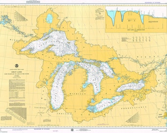 1975 Nautical Chart of The Great Lakes