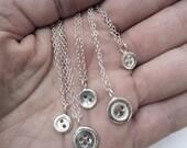 Handmade silver button necklace