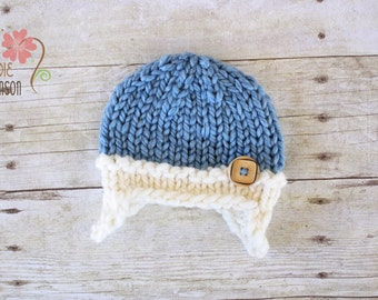 Chunky Earflap Beanie with Wooden Button, Newborn Photography Prop, Blue and Cream