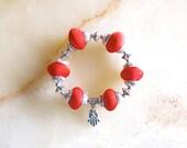 Moroccan jewelry - fiber bead bracelets - roll on -  moroccan art