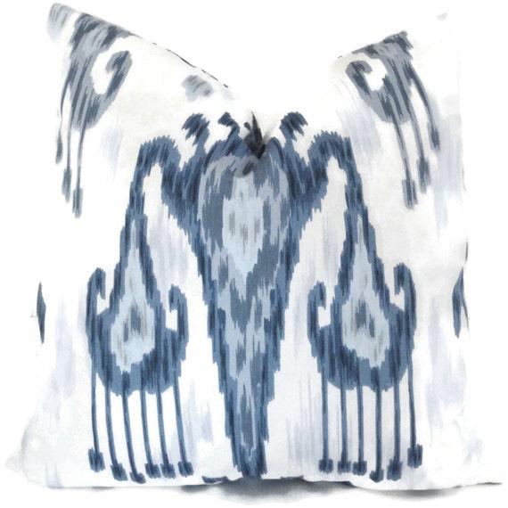 Wedgewood Blue and White Ikat, Robert Allen Decorative Pillow Cover LUMBAR  pillow - Accent pillow- Throw Pillow