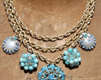 Bold Vintage Statement Bridal Necklace Sparkle One of a Kind Sassy Sisters Jewelry