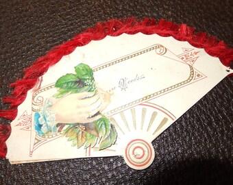 Victorian Calling Card-Valentines day FAN-scarce silk fringe edge -authentic circa 1900 1910 scrap book collectible paper valentine card