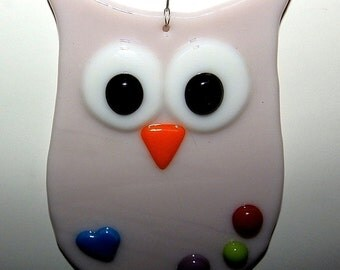 Owl with Heart Glass Ornament