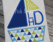 Made for Monogram Sailboat Applique Design Machine Embroidery INSTANT DOWNLOAD