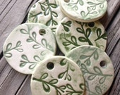 Glazed Essential Oil Diffuser / Green and White Rustic Leaf / Necklace options
