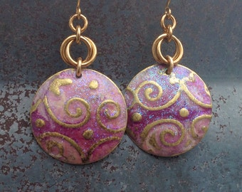 Breast Cancer Awareness Brass Disc Embossed Earring with Pink and Purple Patina