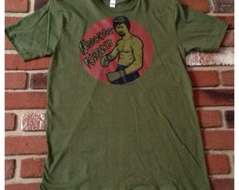 "Vintage 1975's ""Karate"" Heat Transfer on Brand New Medium Green Royal Apparel T-Shirt"