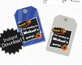 Editable Blaster War Party Favor Tags - Instant Download PDF Template - Blue and Grey Nerf Inspired Party, Editable PDF .. nwb01