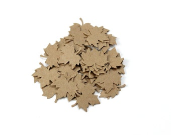 Small Kraft Maple Leaves Die Cuts, Woodland Wedding, Autumn Fall, Rustic Nature Confetti, Table Decor