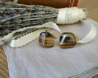 Vintage Tigers Eye Stone Mens CuffLinks