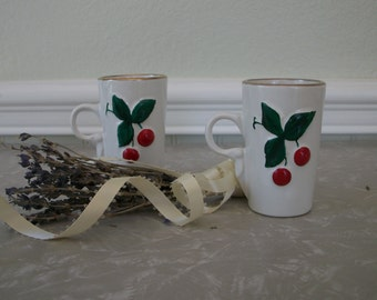 Vintage Small Coffee Mugs With Cherries White Ceramic Two