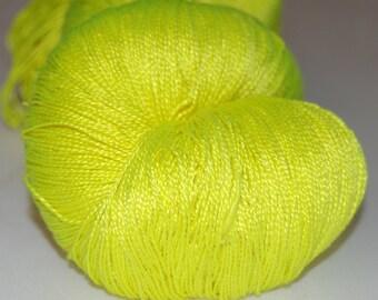 Flavin yellow- Mulberry silk 100% (2ply ,) handdyed yarn