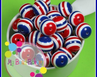 6 Pieces 20mm Red White Blue Striped Resin Gumball Style Beads DIY Crafts For Chunky Necklaces And Bracelets Patriotic Cheer Sports