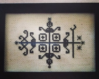 Papa Legba Voodoo Veve Cross Stitch Pattern**Pattern Only**