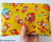 Kawaii woodland animals pouch, zipper pouch, polka dots, gifts for her, yellow, gift, japanese fabric,