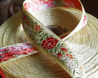 Vintage Jacquard embroidered woven ribbon trim with rose red embroidered florals and  green leaves #970-05