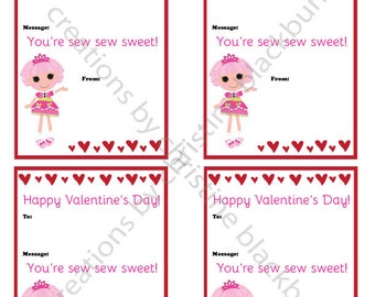 Lalaloopsy Printable Valentine's Day Cards - INSTANT DOWNLOAD