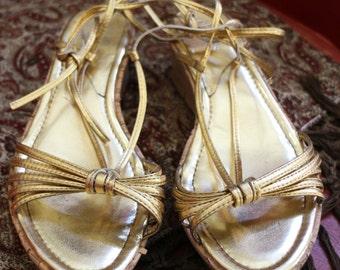Gold Metallic Ankle Wrap Sandals with Cork Platform Heel 6M