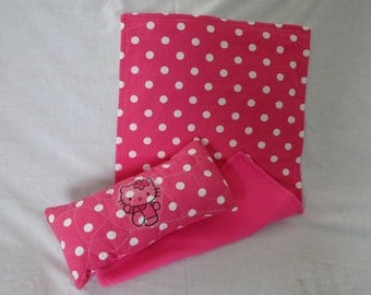 18  inch Doll Clothes American Girl HELLO KITTY Polka Dot BLANKET And Pillow