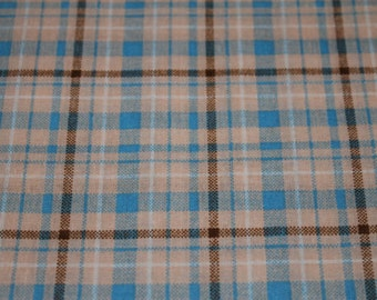06473  VIP - Dots & Plaids in blue/brown-  1 yard