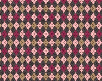 02995  - David Textiles Argyle in pink/grey/tan and fuchsia (2smudge/multi )-   1 yard