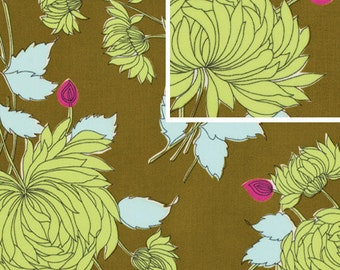 11216 Amy Butler  Belle collection Chrysanthemum in olive cotton Fabric - 1 Yard