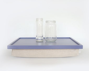 Wood Sofa tray, Breakfast serving or Laptop Lap Desk- Light Slate Blue with natural thick linen pillow