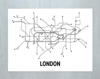 London Lithograph - White/Black