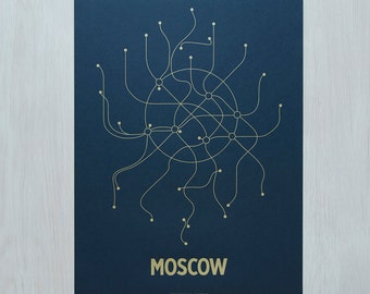 Moscow Lineposter Screen Print - Navy/Gold
