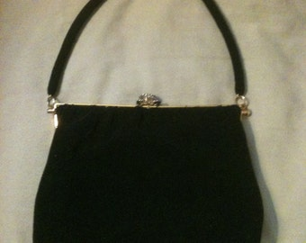 Vintage Black Beaded Evening Purse by Josef France Rhinestone Clasp