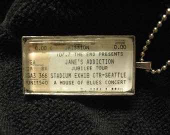 Jane's Addiction, 2001 - Concert ticket stub necklace