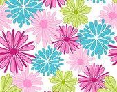 1/2 yard LAMINATED cotton fabric remnant (18 x 40) - Floriography Main Pink (aka oilcloth fabric, slicker fabric)