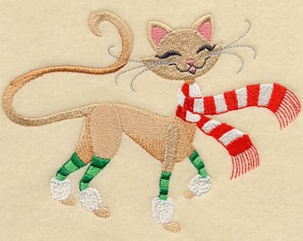 Bella Feline Christmas Cat Embroidered Flour Sack Hand/Dish Towel