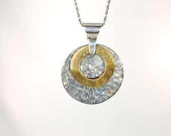 Mixed Metal Necklace Sterling Brass, Modernist Circle Disk Necklace vintage jewelry