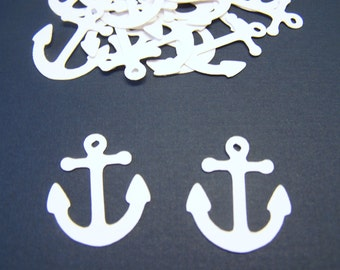 100 White Anchor Confetti Nautical Die Cut Cutout Embellishment Table Scatter