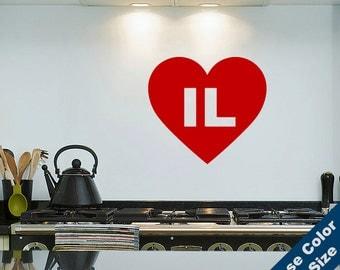 I Heart Illinois Wall Decal - Love Sticker - Free Shipping