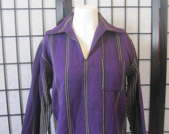 Vintage Ethnic Tunic Shirt V Neck Purple Ivory Black Rust Unisex 36 Medium Festival Pullover Vertical Stripes
