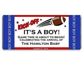 Football Kick-Off Boy Baby Shower Candy Bar Wrappers - Football Themed Baby Shower Favors - Football Candy Bar Wrappers - #IDBBS300