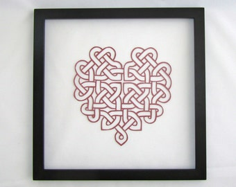 St Patrick's CELTIC HEART Eternity Love Knot Silhouette Paper cut. in Red Burgundy Engagement & Wedding Gift Wall Art Décor Hand cut OOaK