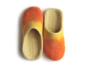 Handmade wool felted slippers - house shoe - orange-yellow-ivory