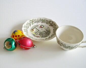 Vintage Christmas Tea Cup, Xmas, Transferware, Tea Cup & Saucer, Johnson Brothers, Merry Christmas, Christmas Tea, Christmas Gift, Tea Lover