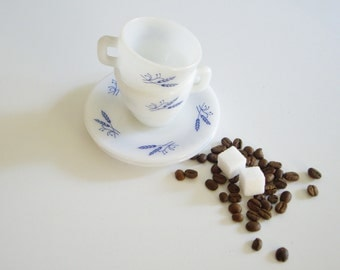 Vintage Demitasse Cup and Saucer for Espresso - Set of 2 - Milk Glass Blue Wheat