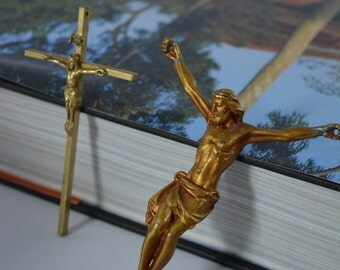 Easter. Cross. Crucifix. Small Crucifix. Set of two Crosses. Vintage Brass Crosses. Santos. Bible. Vintage Cross.