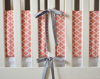 Pink Lattice Crib Bumpers - Pink and Grey Crib Bumpers - Crib Bedding