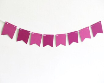 Pink Paper Pennants, Rectangle Flag Banner, Paper Banner, Bunting Banner, Girls Room Decor, Fuchsia Party Supply, Raspberry Decoration