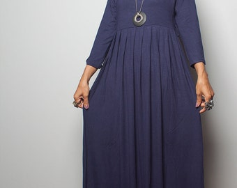 Maxi Dress with 3/4 Sleeves / Long Navy Blue Dress : Autumn Thrills Collection No.13