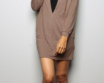 Light Brown Tunic / Trendy Blouse Tunic / Dress with Hood - Short Long Sleeve Dress : Urban Chic Collection No.14