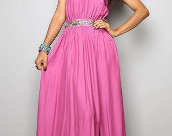 Maxi dress - Long Dewberry Elegant Halter Dress  : Oriental Princess Collection