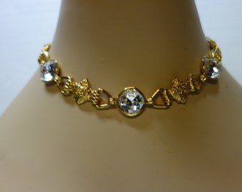 Yves Saint Laurent YSL Vintage  Gilt and Faceted Crystal Necklace